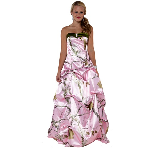 pink camo dresses for prom