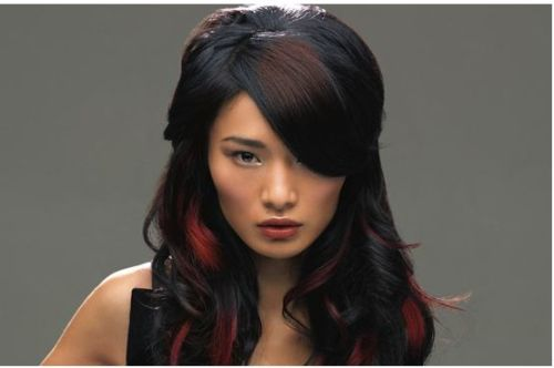 dark hair with red highlights 2012