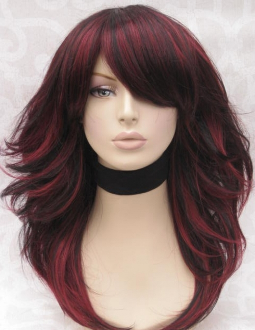 dark hair with red highlights pictures - Di Candia Fashion
