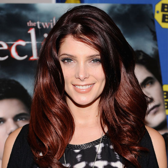 dark hair with red highlights underneath