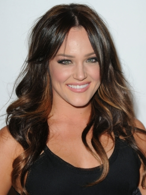 Dark brown hair with highlights around face