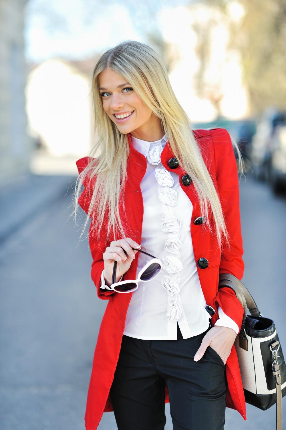 winter coat in trendy red